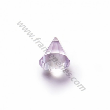 Light Amethyste faceted pyramid drop x 1pc