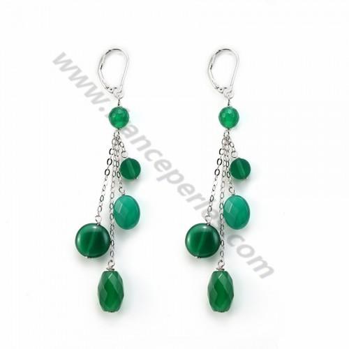 Boucle d'oreille agate vert argent 925 dormeuse x 2pcs