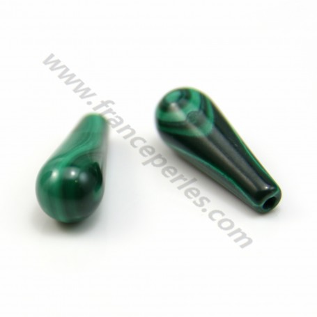 Malachite drop half-drilled 6*16mm x 2pcs