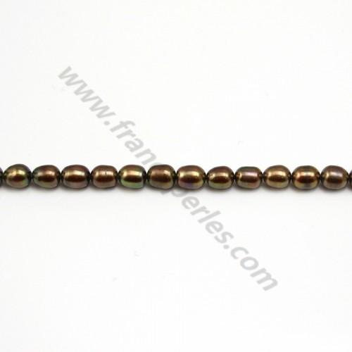 Perles d'eau Douce marron 6.5x8mm X 4pcs