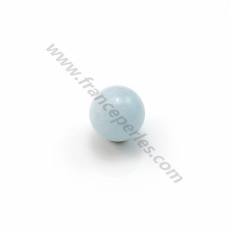 Aquamarine half drilled round 6mm x 2pcs