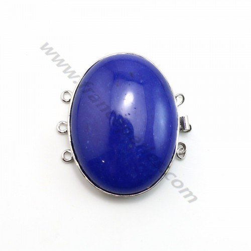 Fermoir 3 rangs avec agate teinté bleu 32*42mm x 1pc