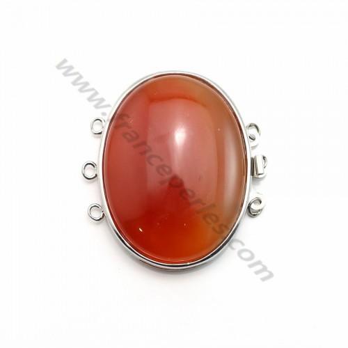 Fermoir 3 rangs avec agate teinté orange 32*42mm x 1pc