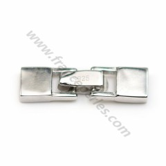 Clasp 925 silver rhodié hook, 6*23mm, for leather thread, 1.3*4.5mm x 1pc