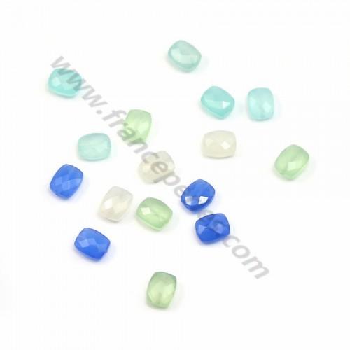 Calcédoine bleu rectangulaire facette 8*10mm x 1pc