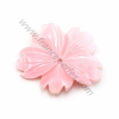 Lambi mother-of-pearl flower drilled 29*33mm x 1pc