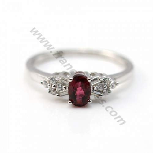 Ring red tourmaline and zirconium 925 sterling silver x 1pc