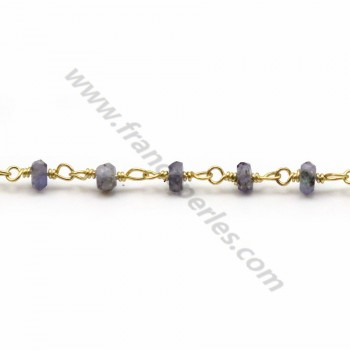 Gold Plated Silver Chain with Iolite of  3-4mm x 20cm