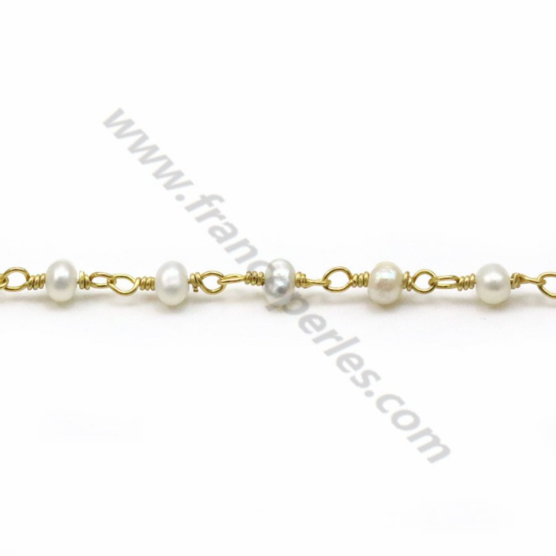 8ca7af5c02c Silver gold chain with freshwater pearls 3mm - natural freswater pearl