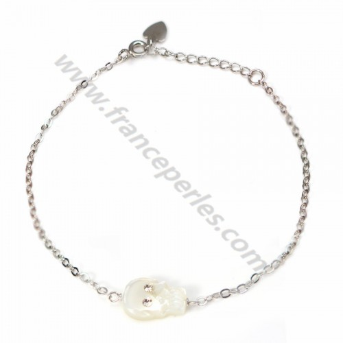 Bracelet silver 925 Human Skeleton in white shell