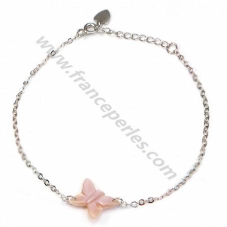 Bracelet chaîne argent 925 papillon en nacre rose
