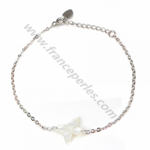 Bracelet chaîne silver 925 butterfly in white shell
