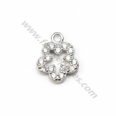 925 silver and zirconium charm in shape of flower, measuring 7.5 * 9.2mm x 1pc