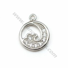 925 silver & zirconium charm, in the wave-shaped, measuring 7mm x 1pc