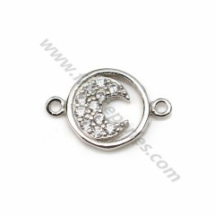 Intercalaire en argent 925 & zirconium, en forme de lune, mesurant 9*13.5mm x 1pc