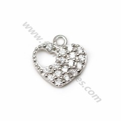 925 silver & zirconium heart-shaped charm, measuring 8.9 * 9mm x 1pc