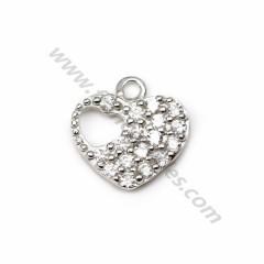 925 silver & zirconium heart-shaped charm, measuring 8.9 * 9mm x 1pc