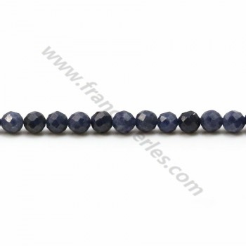 Blue sapphire, in round faceted shape, measuring 4mm x 40cm