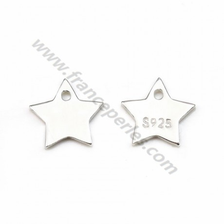 925 silver charm medal engraving, in shape of stars measuring 10mm  x 2pcs