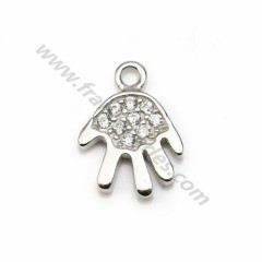 925 sterling silver & zirconium oxide pendant, in shape of hand 7*10mm x 1pc