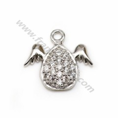 Pendant in 925 sterling silver with zirconium oxide, shape of winged drop, 8 * 9mm x 1pc