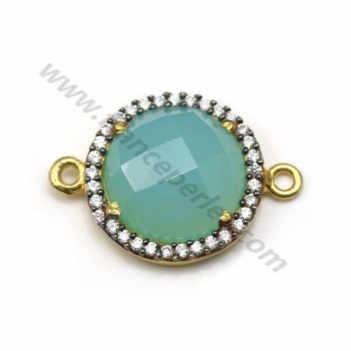 Calcédoine ronde sertie en argent 925 doré avec zirconium 15mm x 1pc