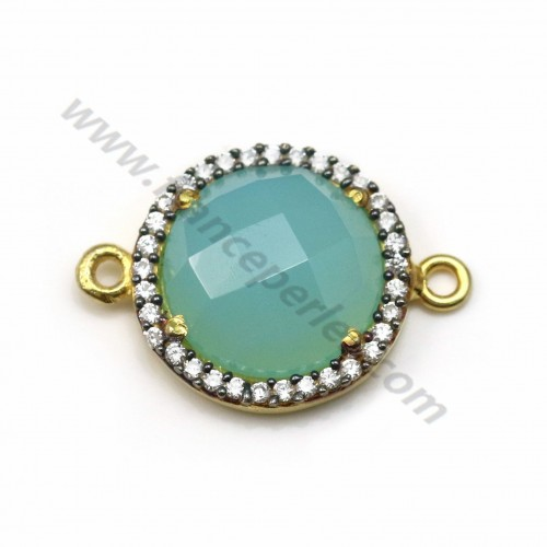 Faceted round chalcedony set in silver 925 gold-plated  with zirconium 15mm x 1pc