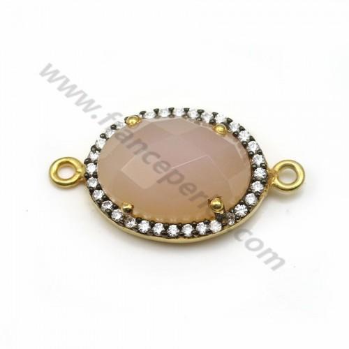 Calcédoine rose ovale sertie en argent doré avec zirconium 13*17mm x 1pc