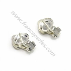 Earrings clip, in 925 silver, measuring 8.5mm, for half drilled beads x 2pcs