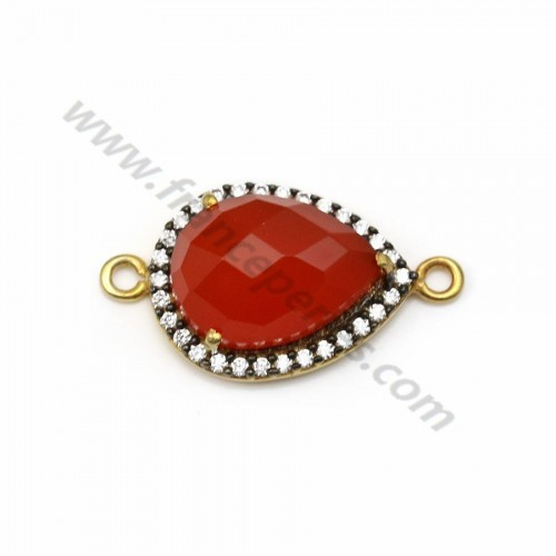 Faceted drop carnelian set in 925 silver gold-plated with zirconium 13*17mm x 1pc