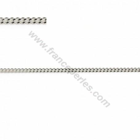 925 sterling silver flat curb chain 1.2*0.6mm x 50cm