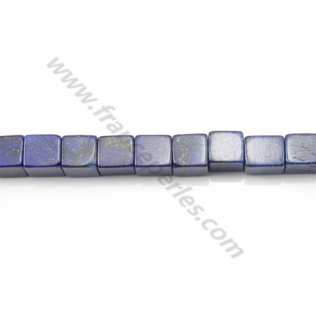 Lapis-Lazuli in the shape of a cube, in size of 6.5mm x 2pcs