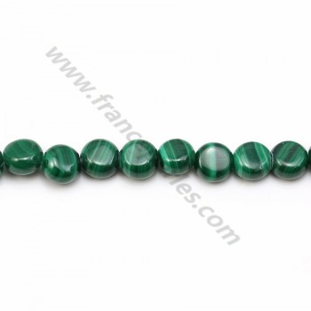 Malachite green, in round and flat shaped beads, in size of 6mm x 40cm