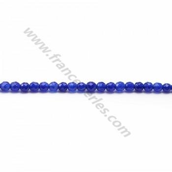 Jade Teinté bleu rond facette 3mm X 40cm