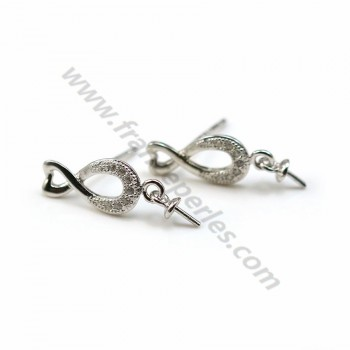 Infini earstuds with zirconium oxide, 925 Sterling Silver  6.5x15mm x 2pcs