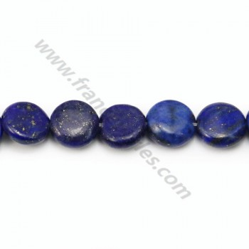 Lapis lazuli, of round and flat shape, in size of 10mm x 40cm