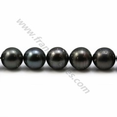Pearls of Tahiti grey clear round 8.5-9.4mm x 40cm