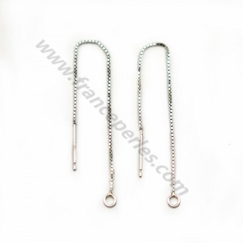 Mesh of earrings square 0.65x75mm sterling silver 925 x 2pcs