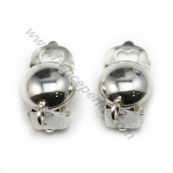 Clip Earrings half beads with ring 4mm, Sterling Silver 925 , 16.5x10mm  X 2 pcs