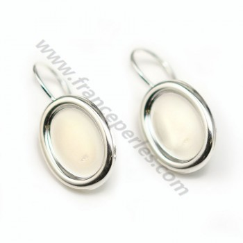 Earrings threadse  with the  cabochon, Sterling Silver 925 , 10x14mm  X 2 pcs