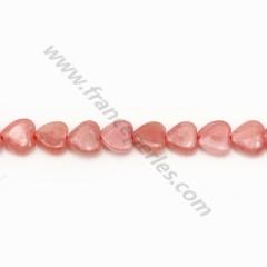 Rhodochrosite rose, en forme de coeur, 6mm x 39cm