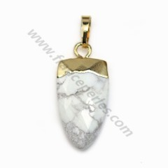Pendant in howlite, set in gold metal, 10 * 18mm x 1pc