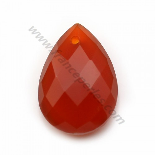 Cornaline orange, en forme de goutte facetté, 13 * 18mm x 1pc