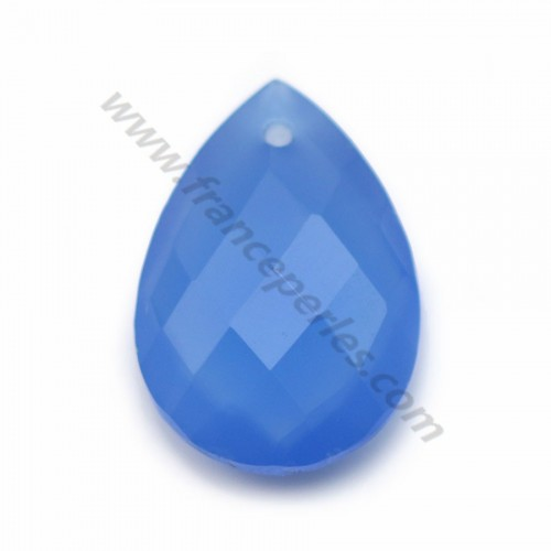 Blue chalcedony, in faceted drop shaped, 13 * 18mm x 1pc