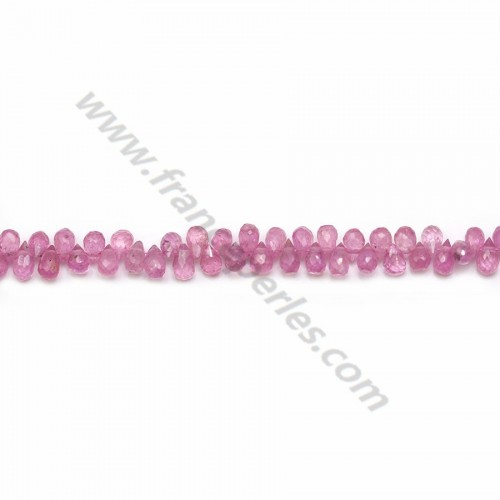 Pink sapphire, in the shape of a faceted briolette, 3 * 5mm x 40cm