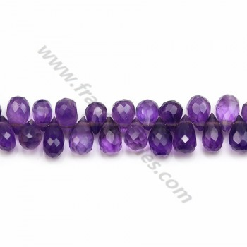 Amethyst, in the shape of faceted briolette, 5.5 * 8.5mm x 22cm