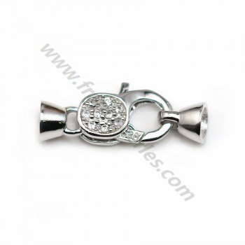 Lobster claw clasp with zircons, 925 Sterling silver 9*21mm X 1 pc