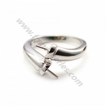 925 sterling silver flexible ring double half drilled x 1pc