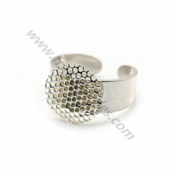 925 silver adjustable ring 14mm round base x 1pc
