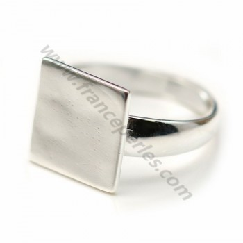 Sterling Silver 925  Simple Ring square Adjustable12 mm X 1 pc